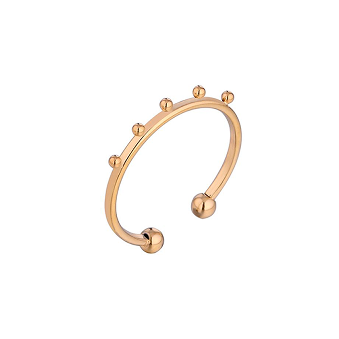 stainless steel en gold plated ring met 5 bolletjes als trendy accent.