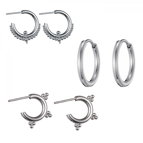 Bali Hoops Earparty Set - Zilver