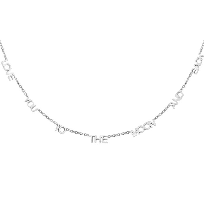 Love You To The Moon Ketting - Zilver
