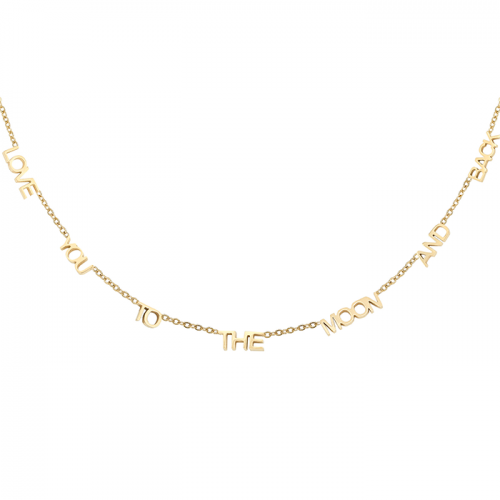 Love you to the moon ketting - Goud